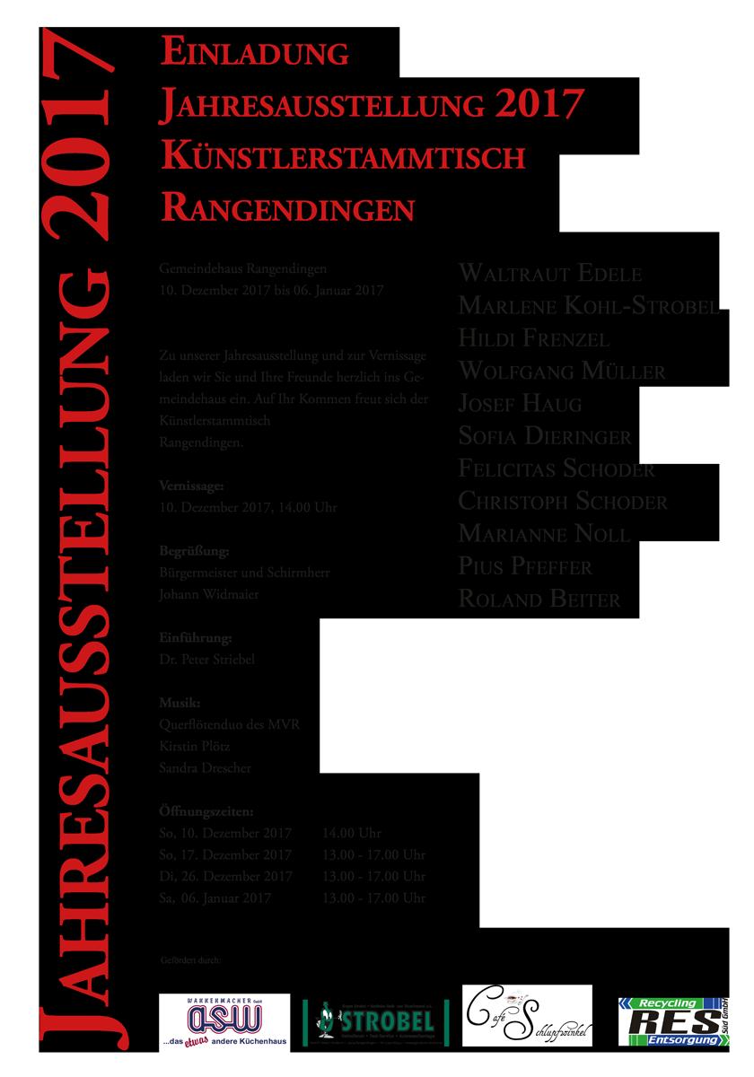 Jahresausstellung Künsterstammtisch Rangendingen vom 10.12.2017 bis 06.01.2018 im Gemeindehaus Rangendingen