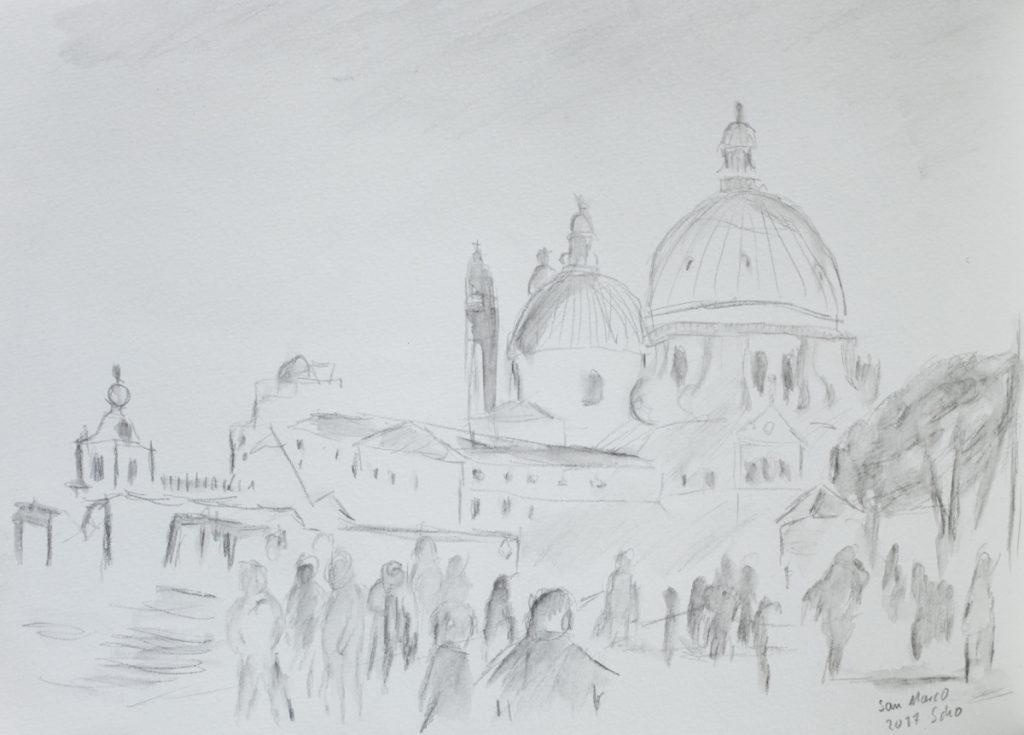 Zeichnung aus meinem Skizzenbuch vom Markusplatz