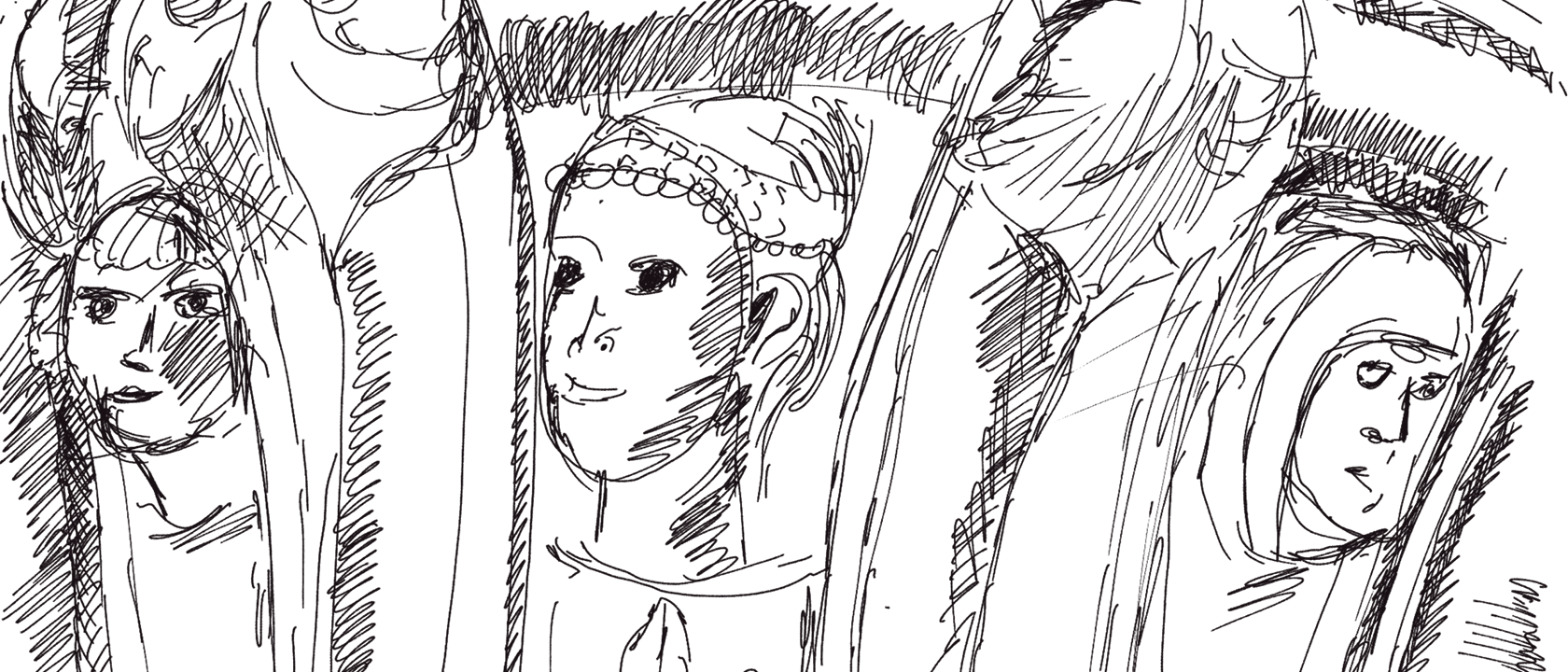 Bleistiftskizze eines Kapitells am Dogenpalast